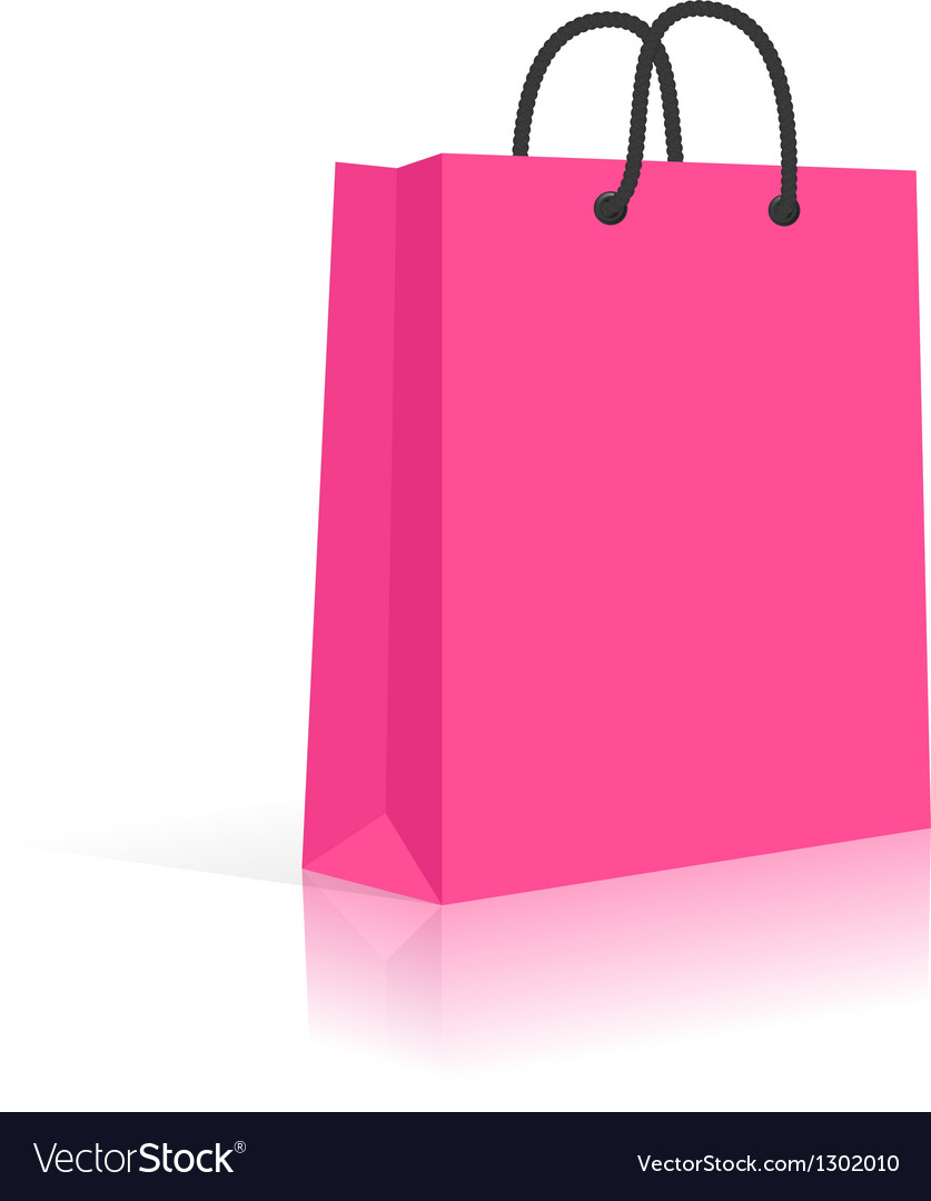 Blank paper shopping bag with rope handles pink vector