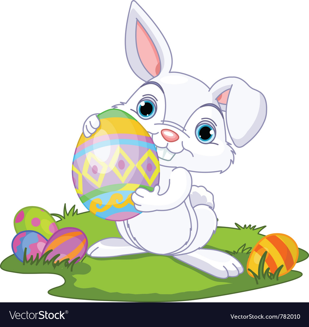 Cute easter bunny carrying egg vector