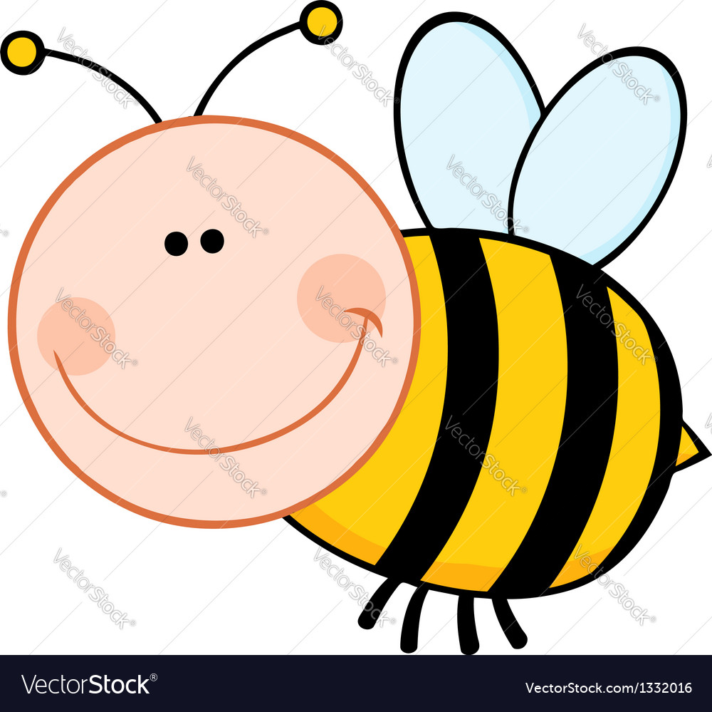 Bumble bee cartoon mascot character flying vector