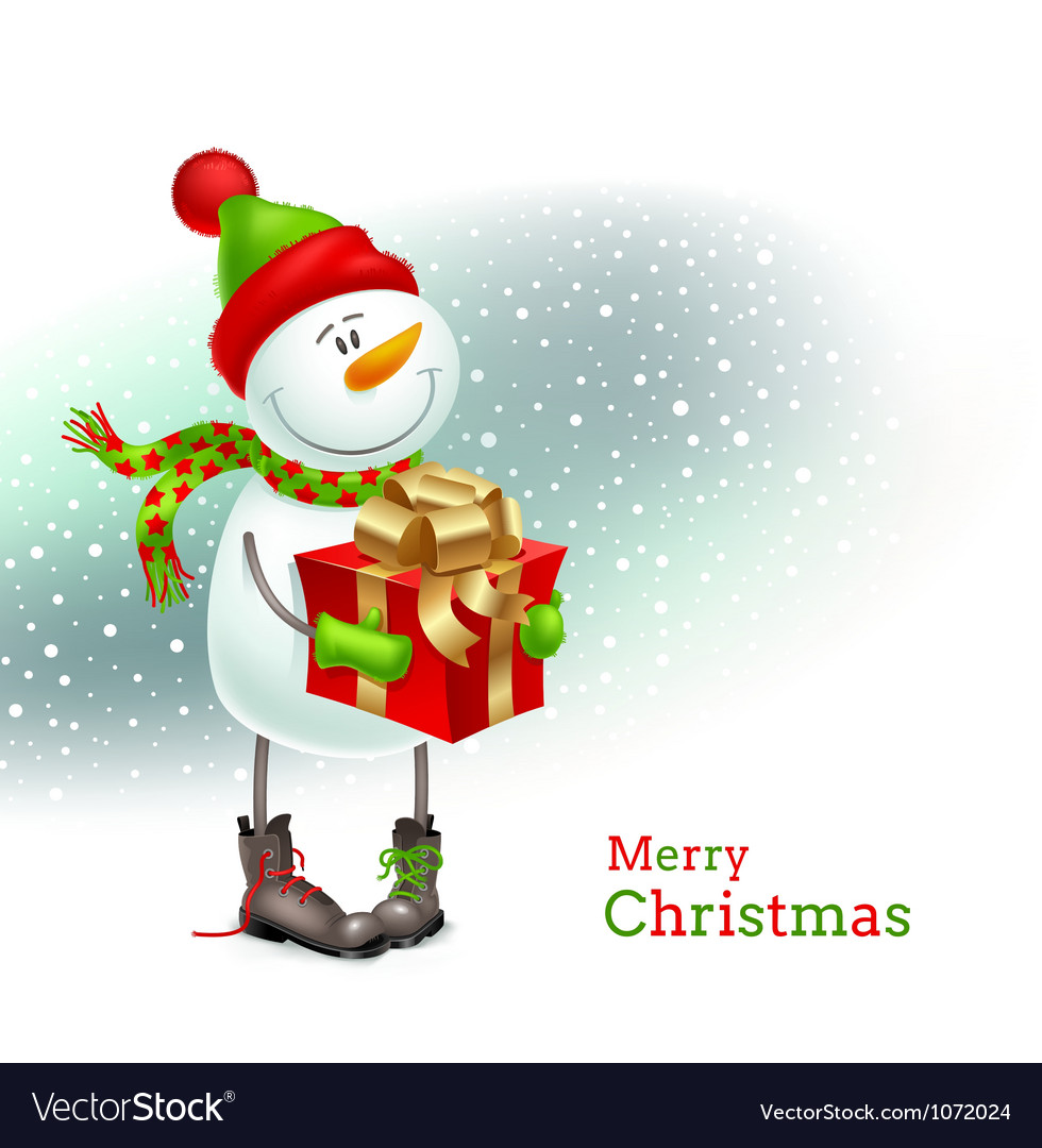 Smiling snowman with gift vector