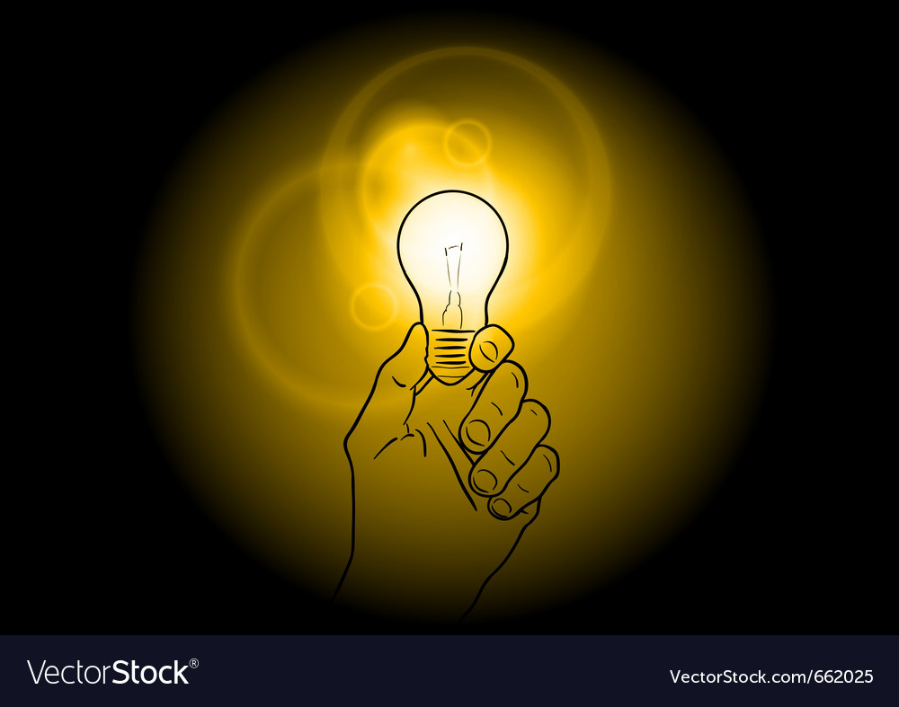 Light bulb shining on the dark vector