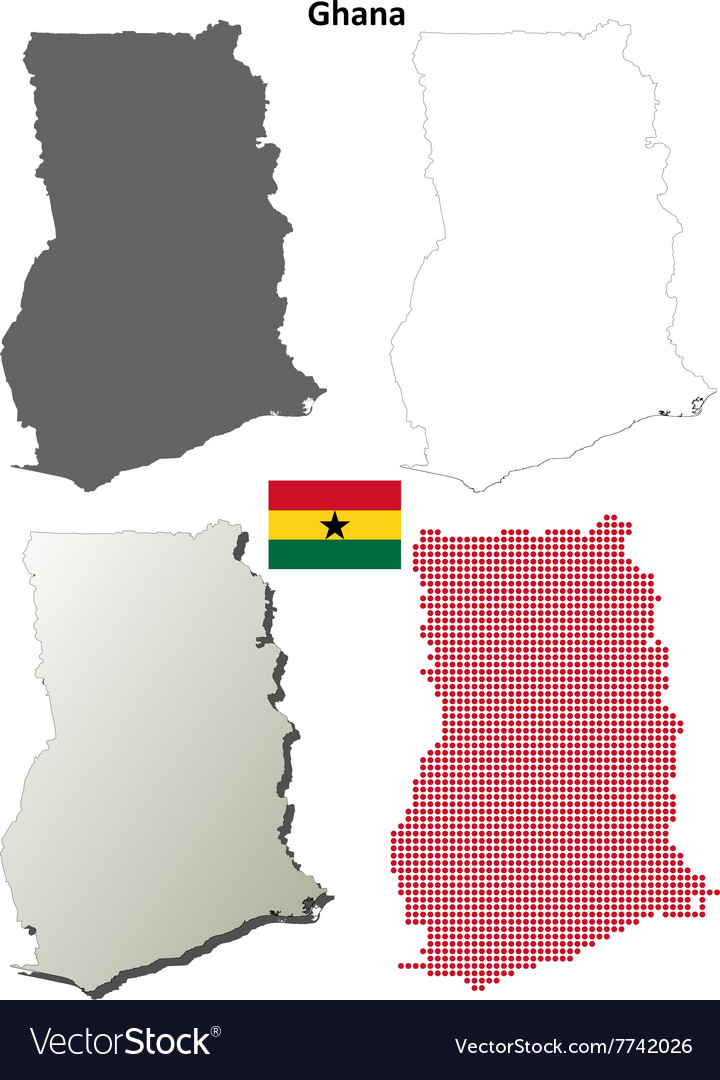 Ghana outline map set