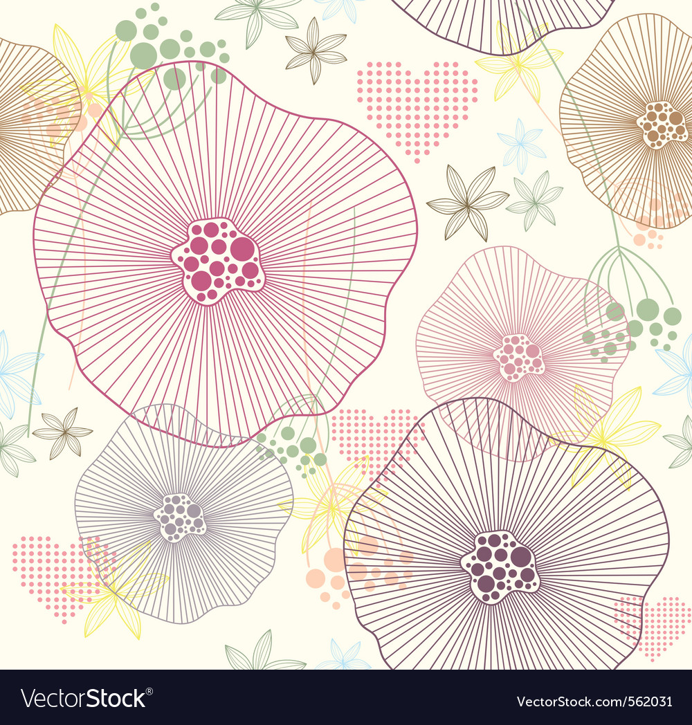 Seamless pattern with flowers and hearts vector