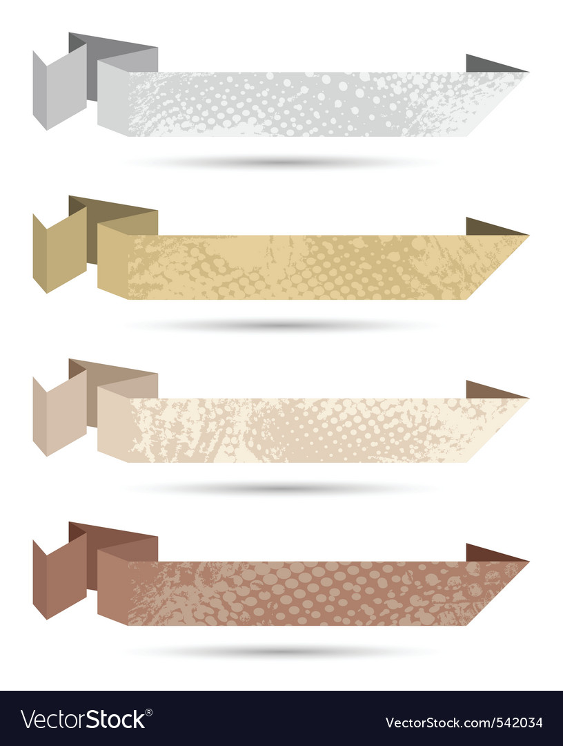 Paper origami ribbons neutral colors vector
