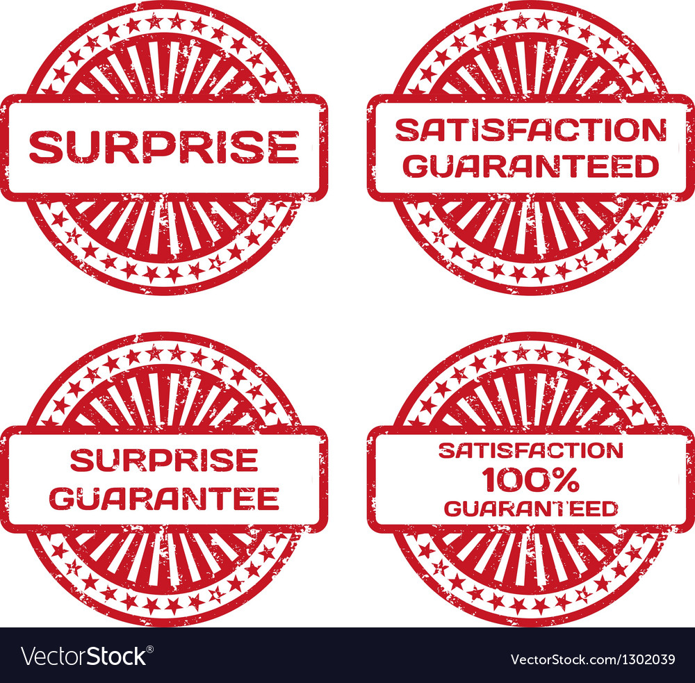 Grunge rubber stamp set satisfaction guarantee vector
