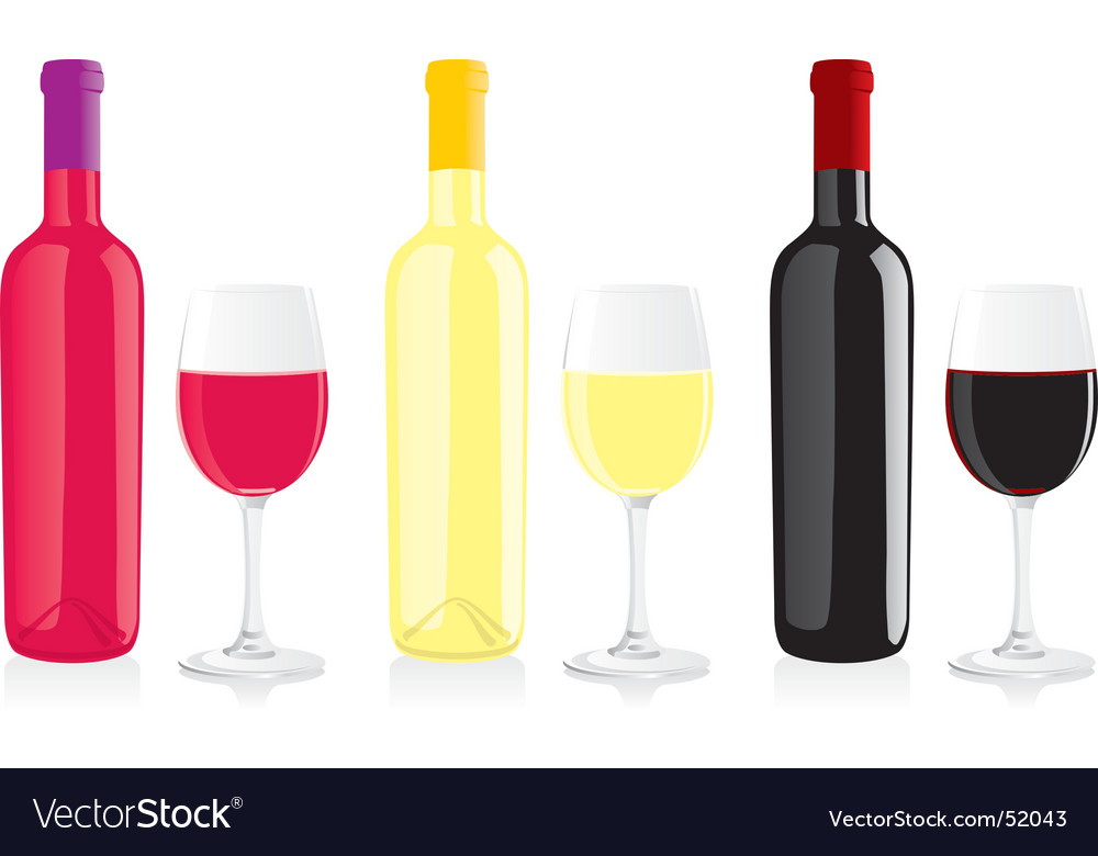 Wine bottles and glasses vector
