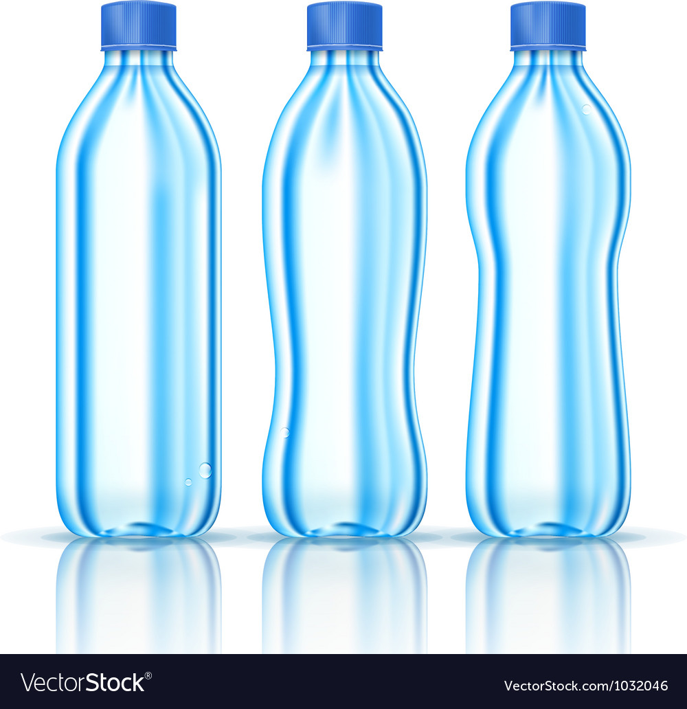 Water bottles on white vector