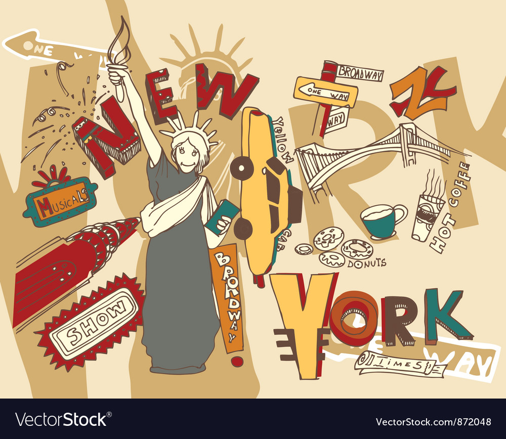 Free new york doodles vector