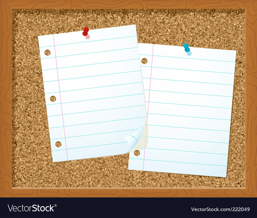 Corkboard and papers vector