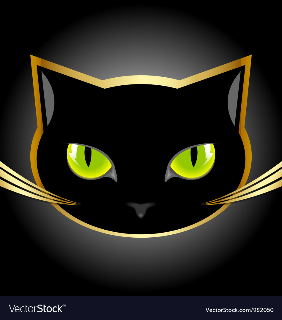 Black cat head vector