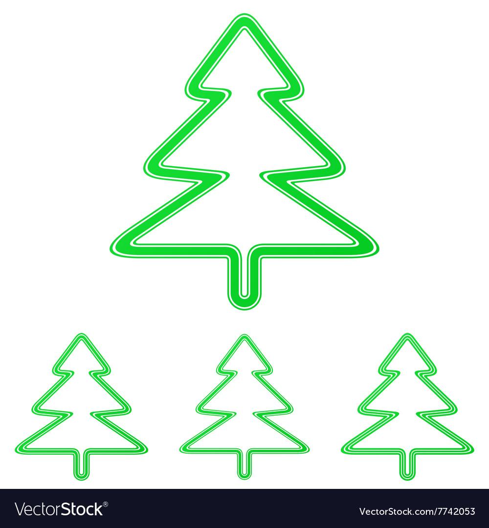 Green pine tree logo design set