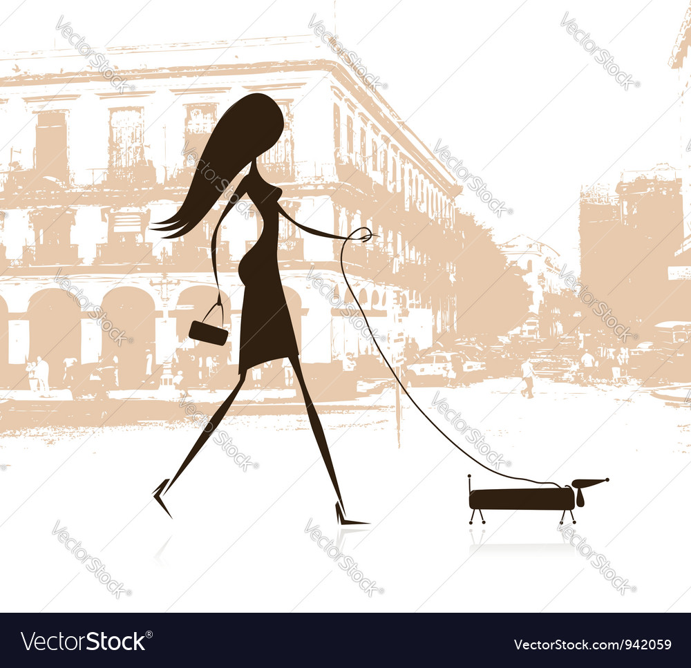 Woman walking with dog on the street vector