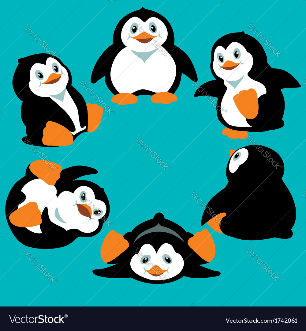Cartoon penguins vector by insima - Image #1742061 - VectorStock