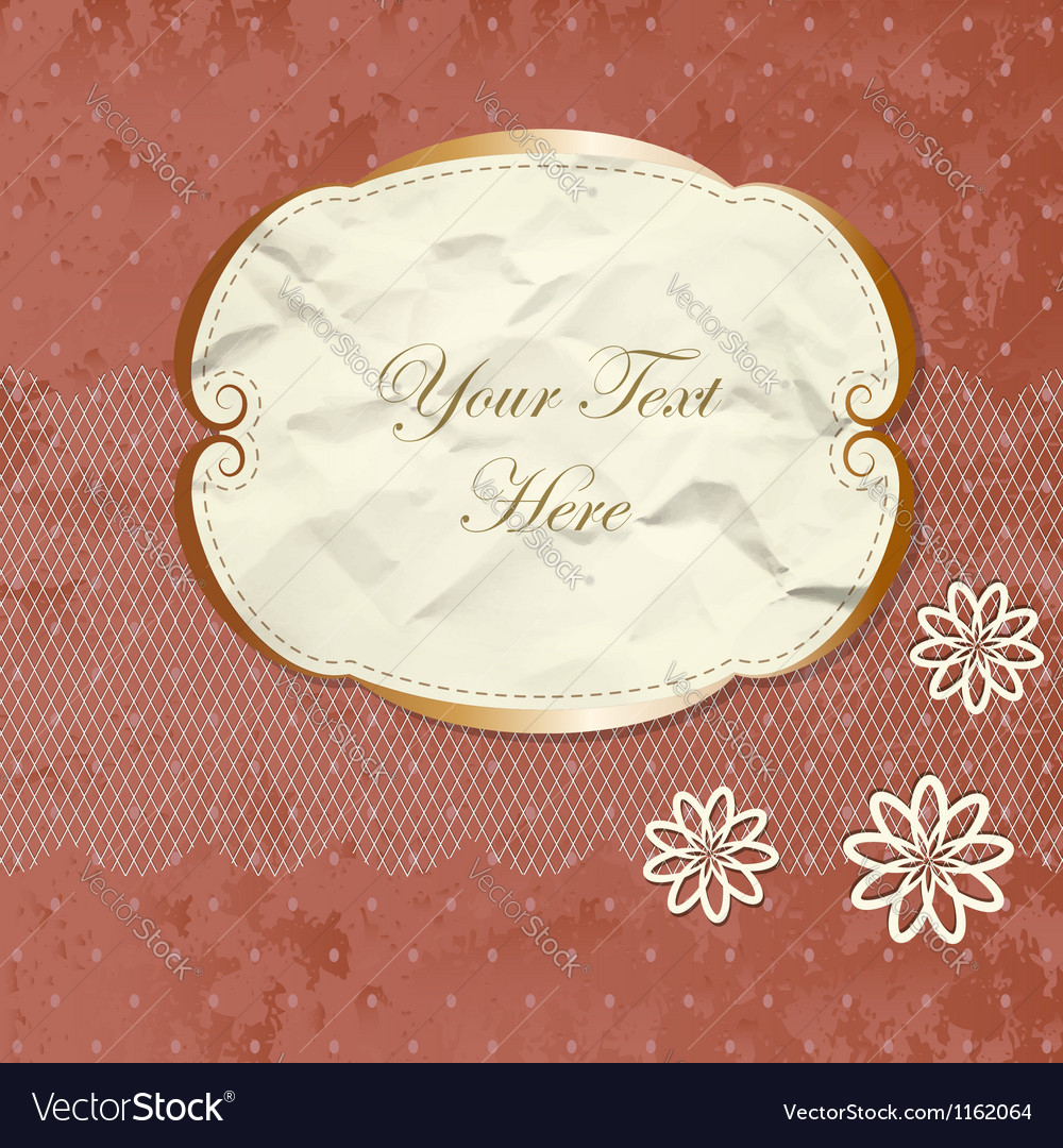 Romantic lacy border with flowers vector