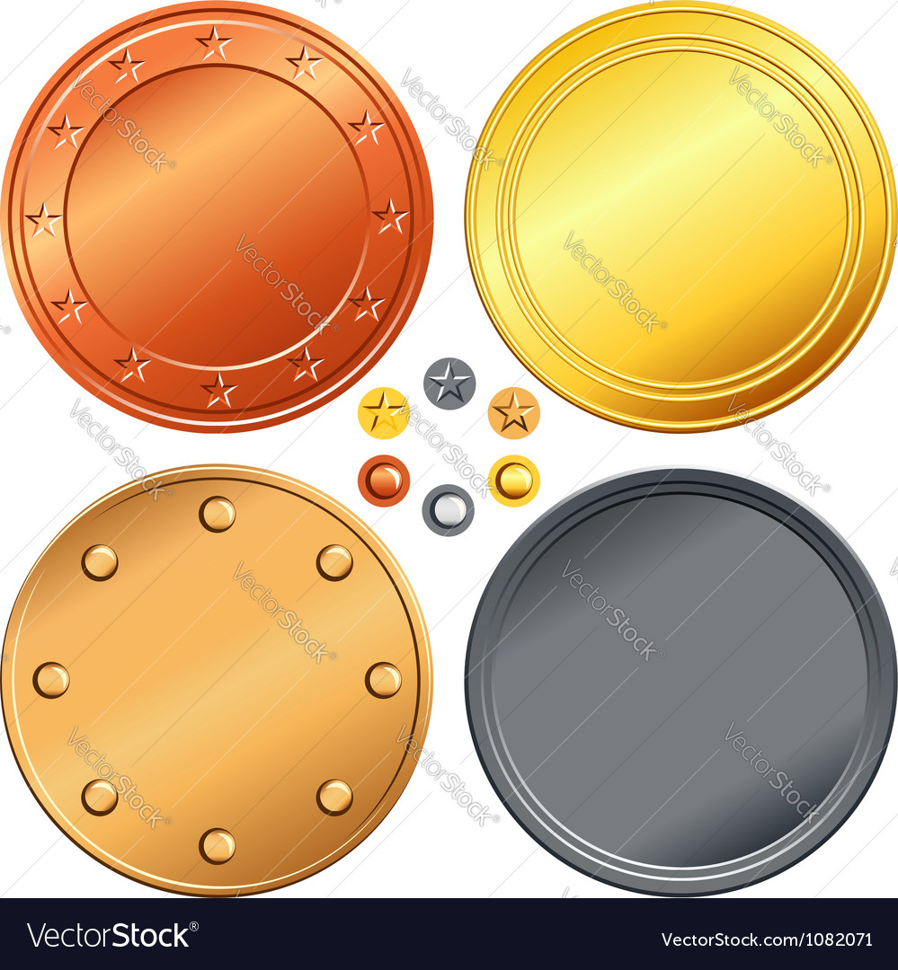 Set of gold silver bronze money coins vector