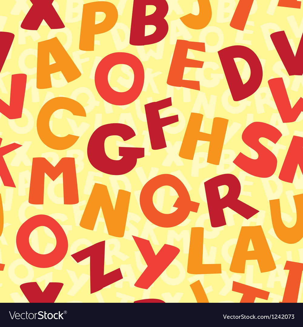 Seamless pattern with cartoon letters vector