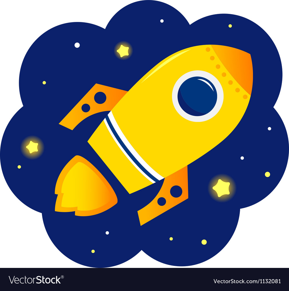 Cartoon stylized rocket in space with stars vector
