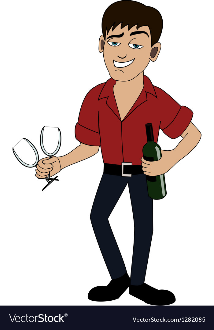 Man with bottle of wine vector