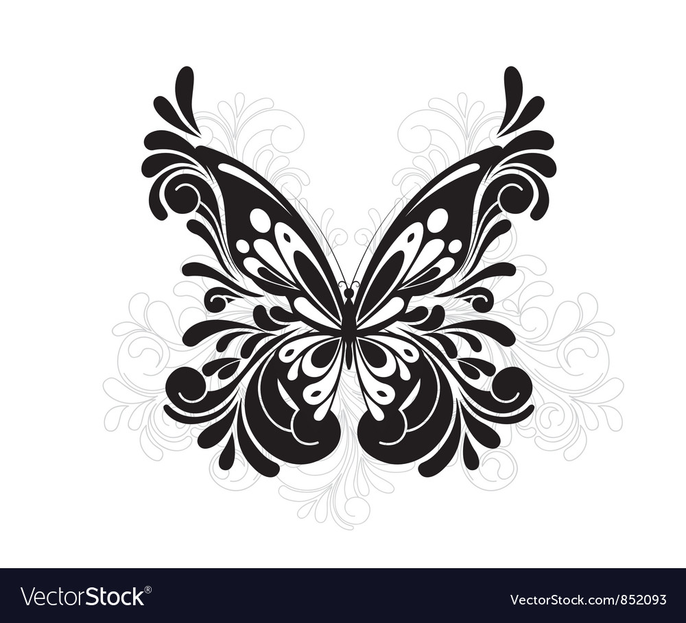Free butterfly with floral vector