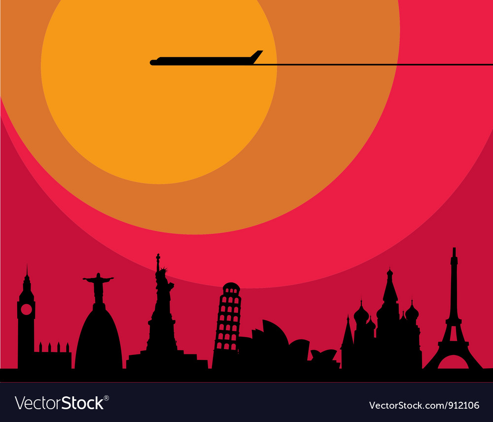 World cities sunset vector