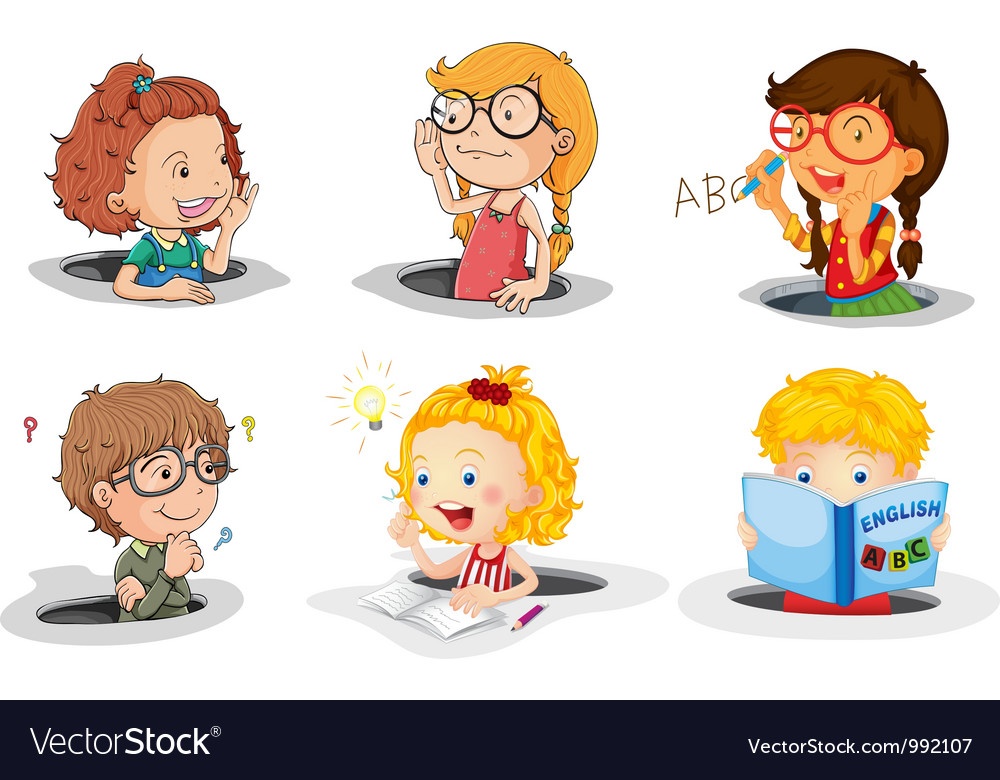 Cartoon kids studying vector