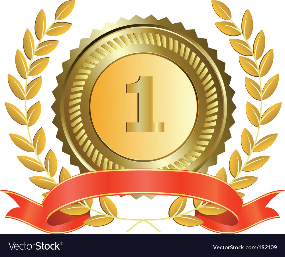 Gold medal and laurel wreath vector