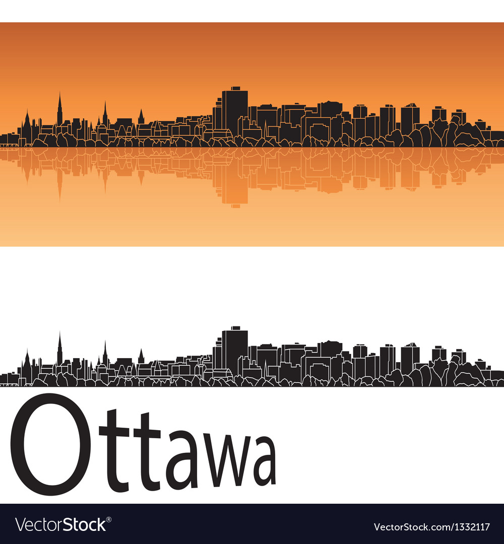 Ottawa skyline in orange background vector