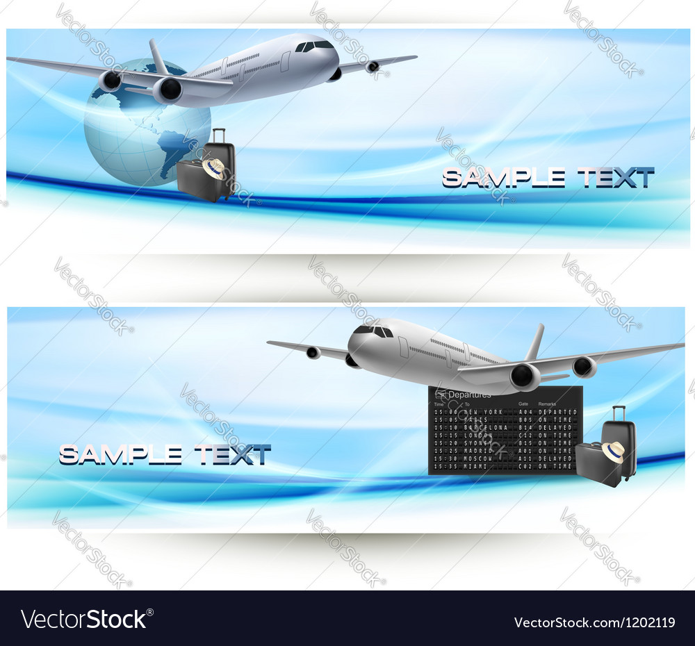 Two travel banners with airline vector