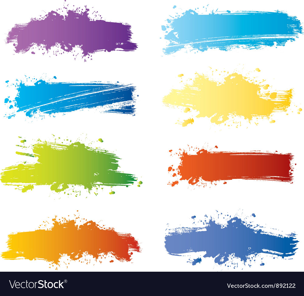 Splash banners color vector