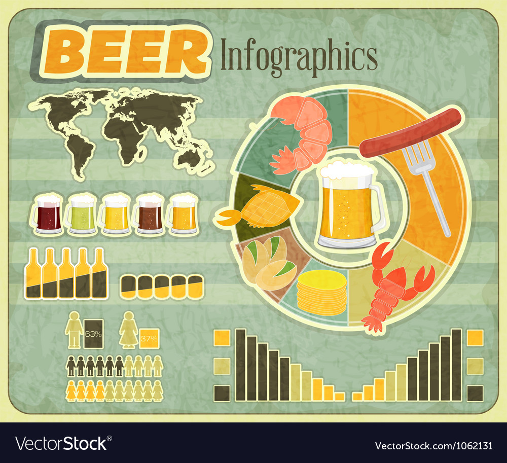 Beer icons snack and elements vector