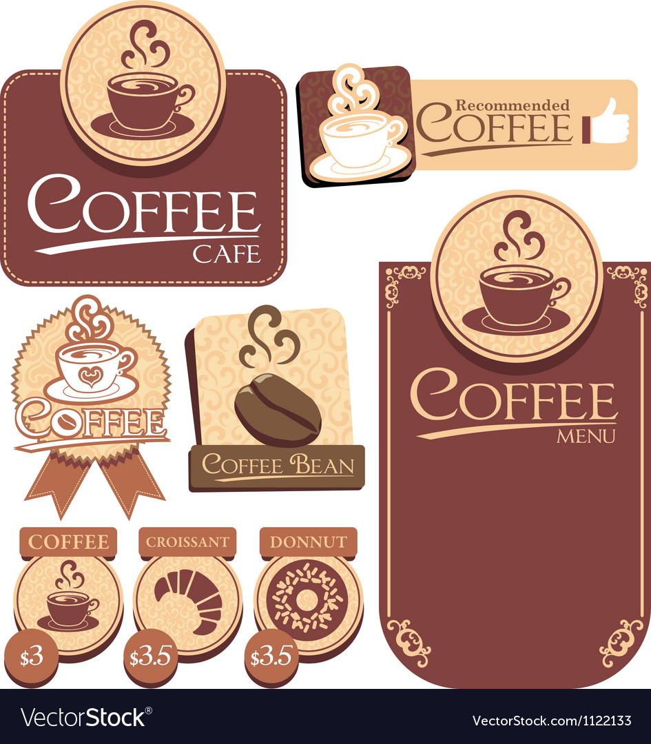Various of coffee label vector