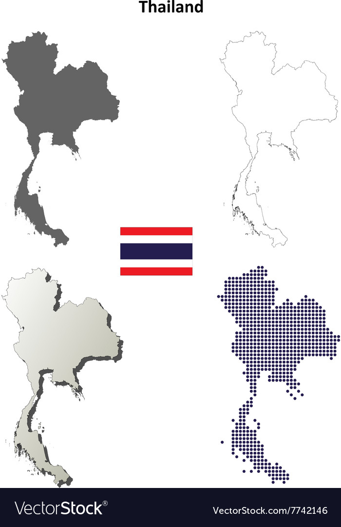 Thailand blank detailed outline map set