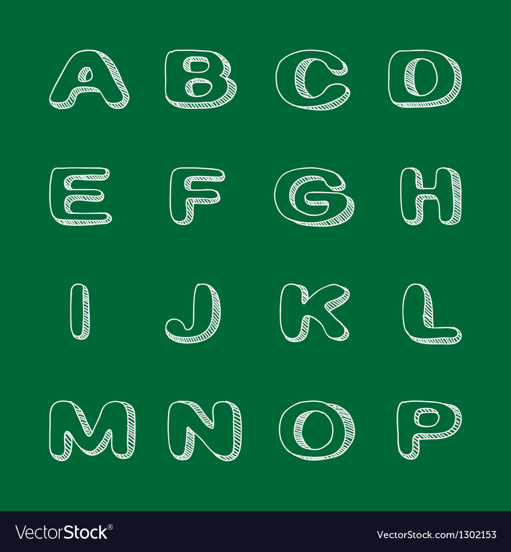 Hand drawn font doodle alphabet childish abc vector