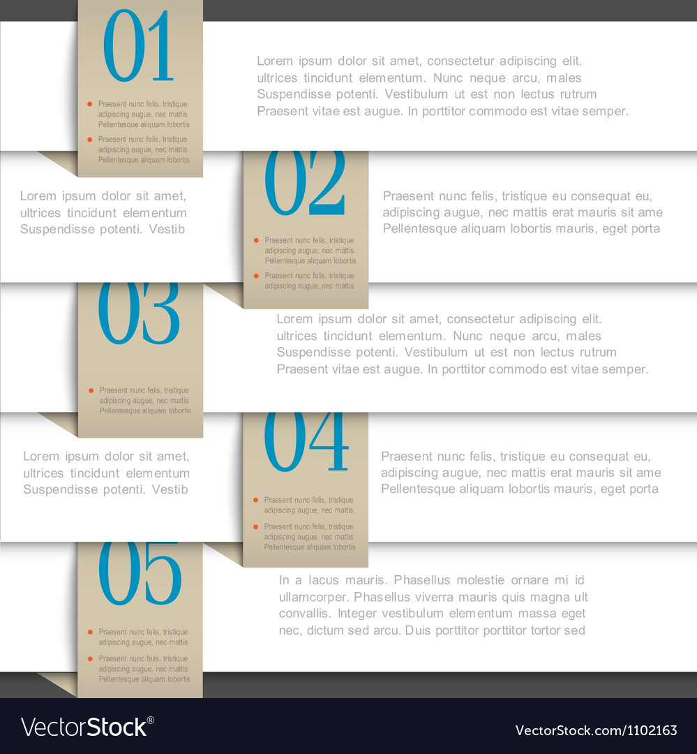 White paper numbered banners vector
