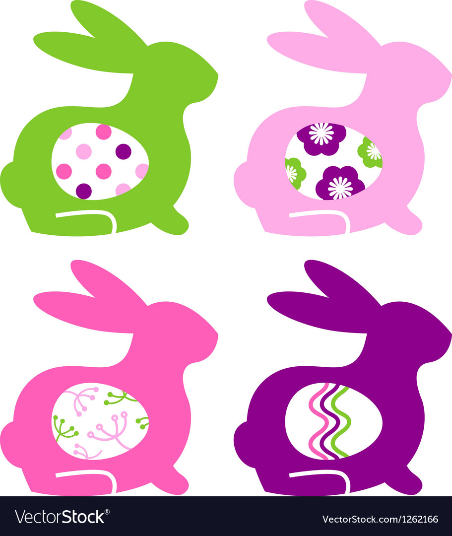 Abstract colorful bunnies with eggs set vector