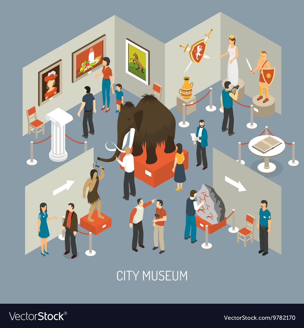 Marketing Exhibition Stand Vector : Museum exhibition isometric composition poster vector by