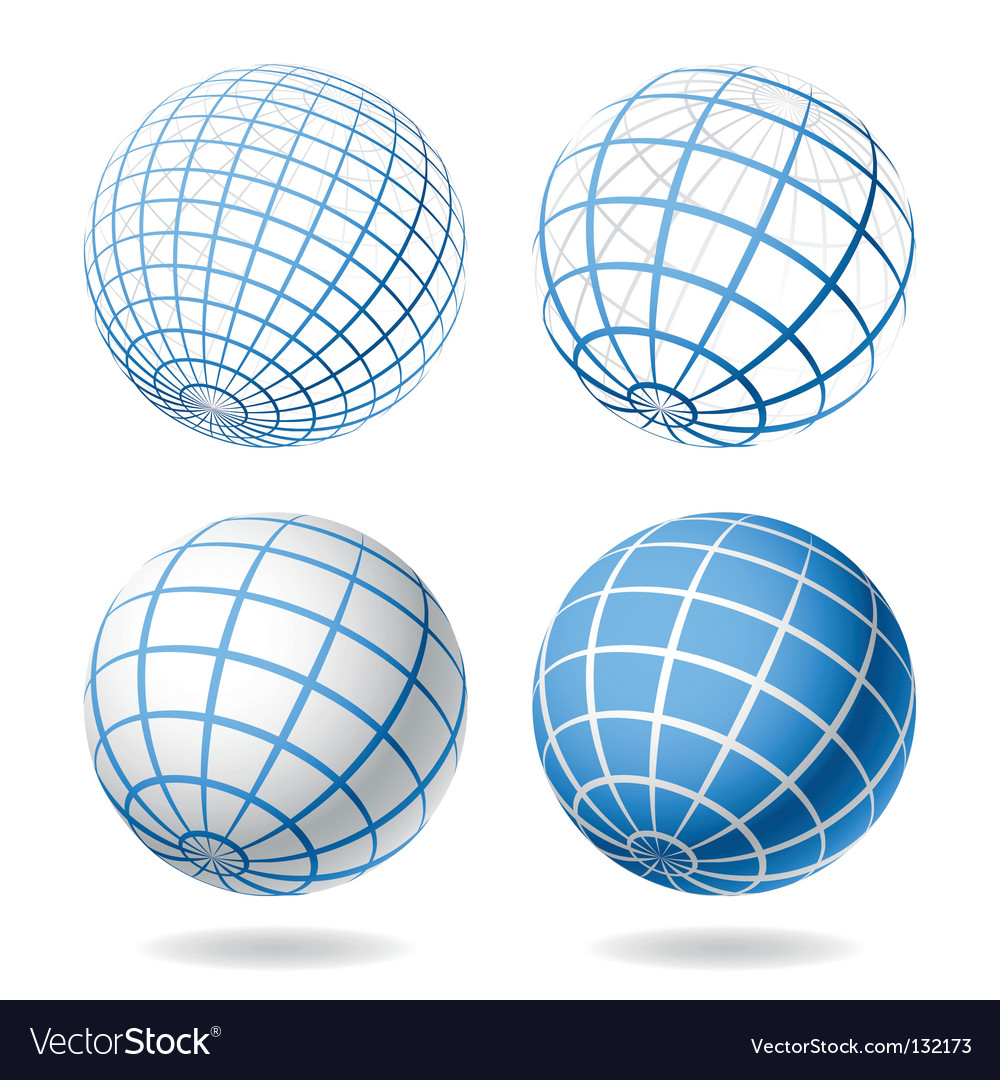 Earth Globe Emblem Icon Set Vector Image by LuckyDesigner - Image ...