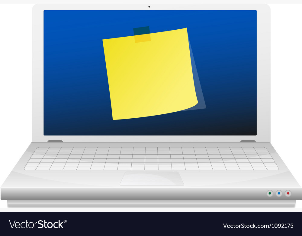 Yellow sticky note at the laptop screen vector