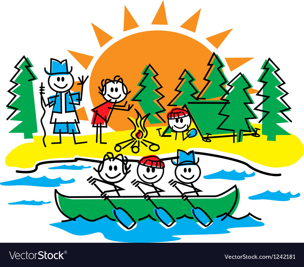 Stick figure camping vector