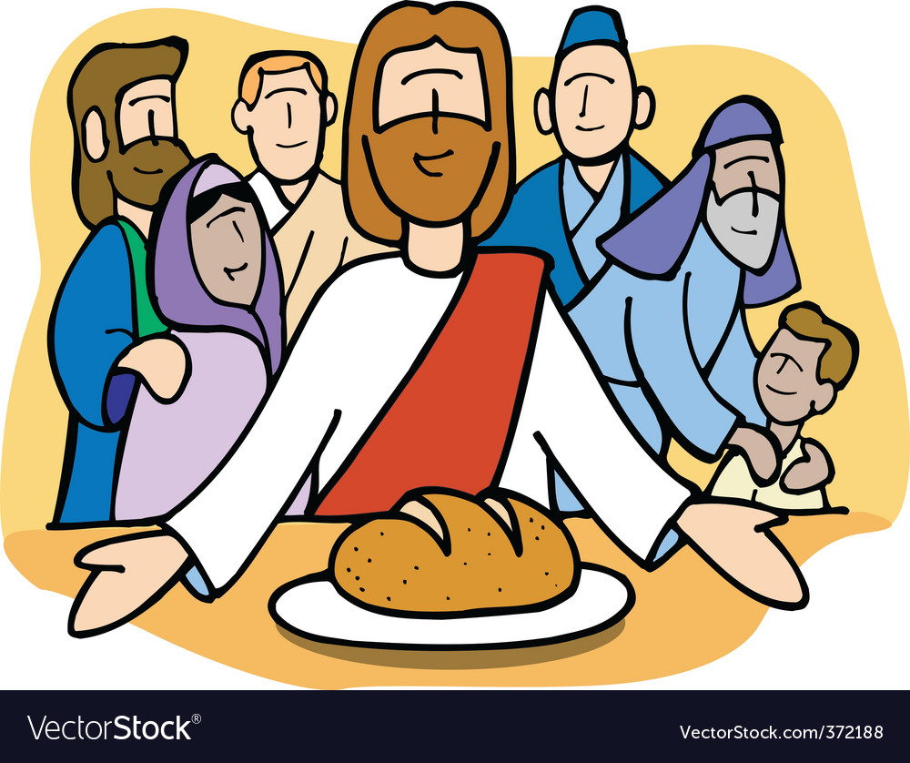 Jesus sharing the bread vector