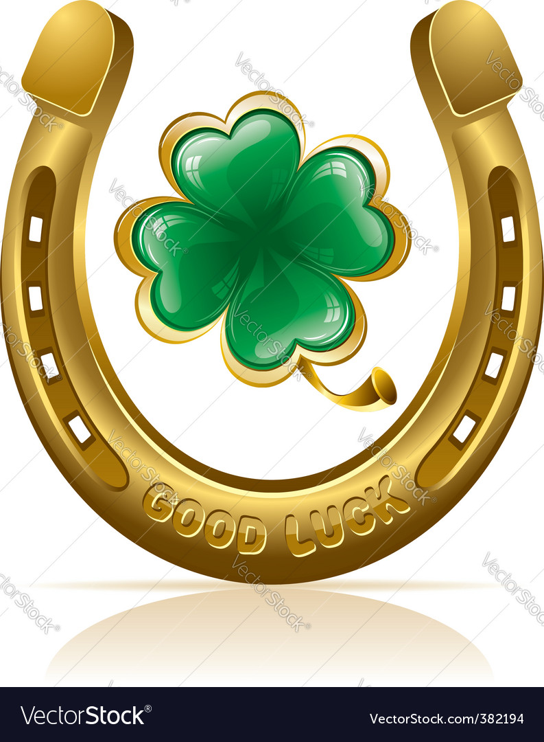 Horseshoe and clover vector by pazhyna image 382194 vectorstock