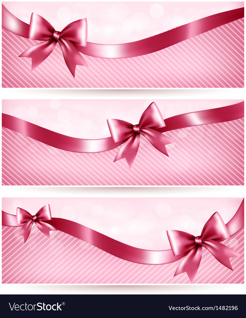 Three pink holiday banners with gift glossy bow vector