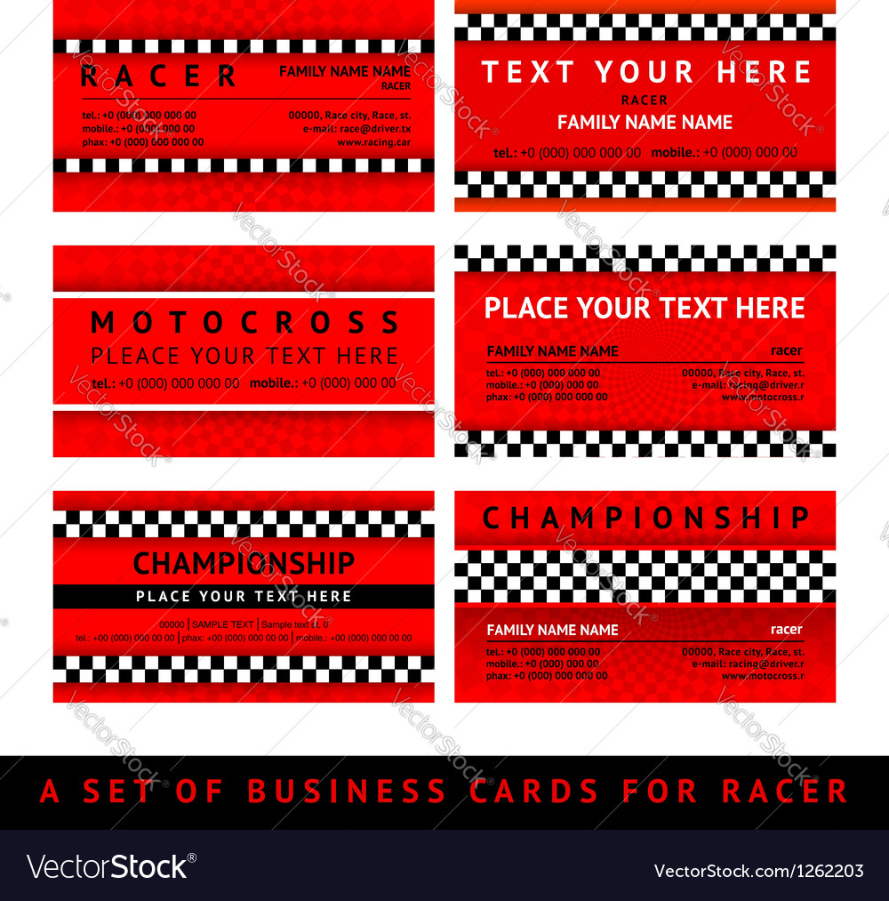 Business card driver race  fourth set vector