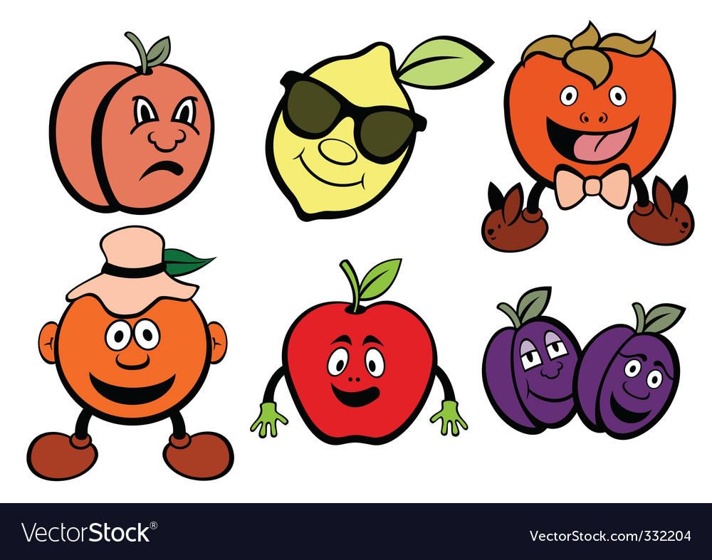 Cartoon fruit icons vector