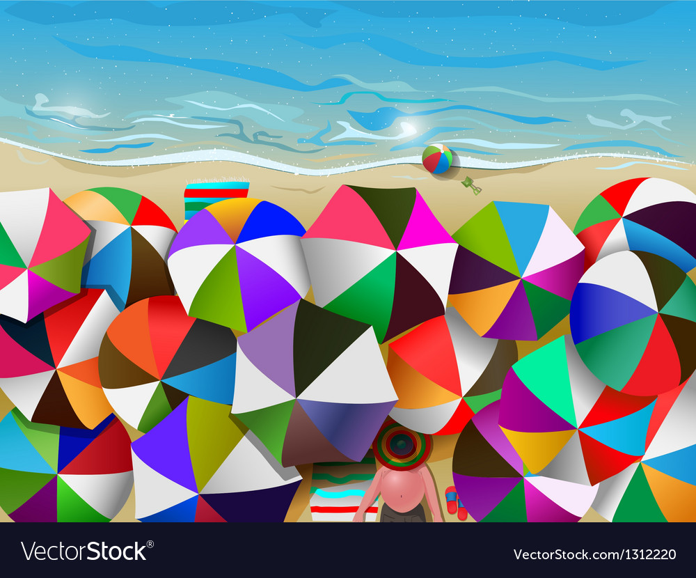 Crowded beach vector