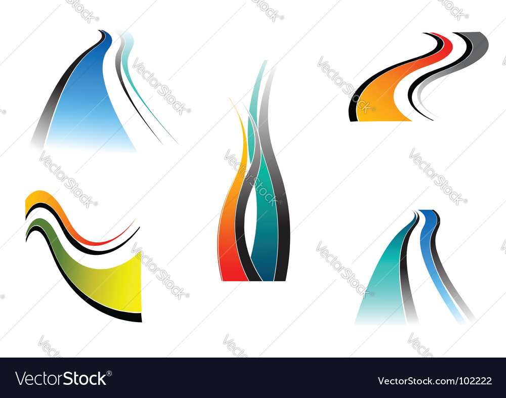 Design elements with wavy lines vector