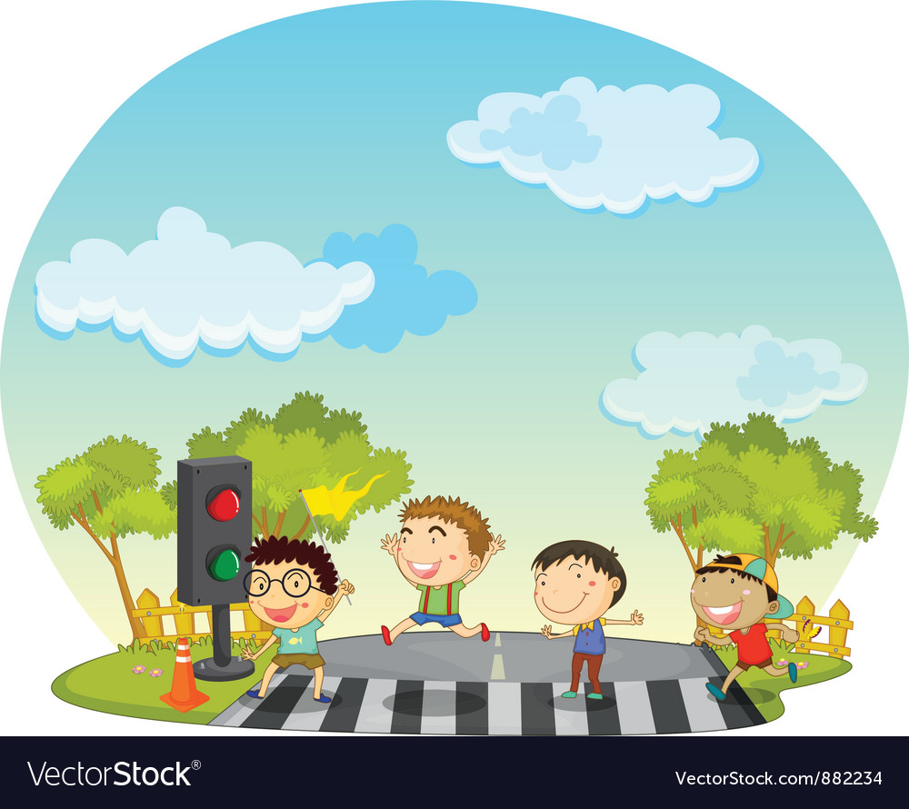 Children crossing street vector