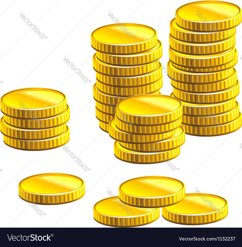 Many gold coins vector