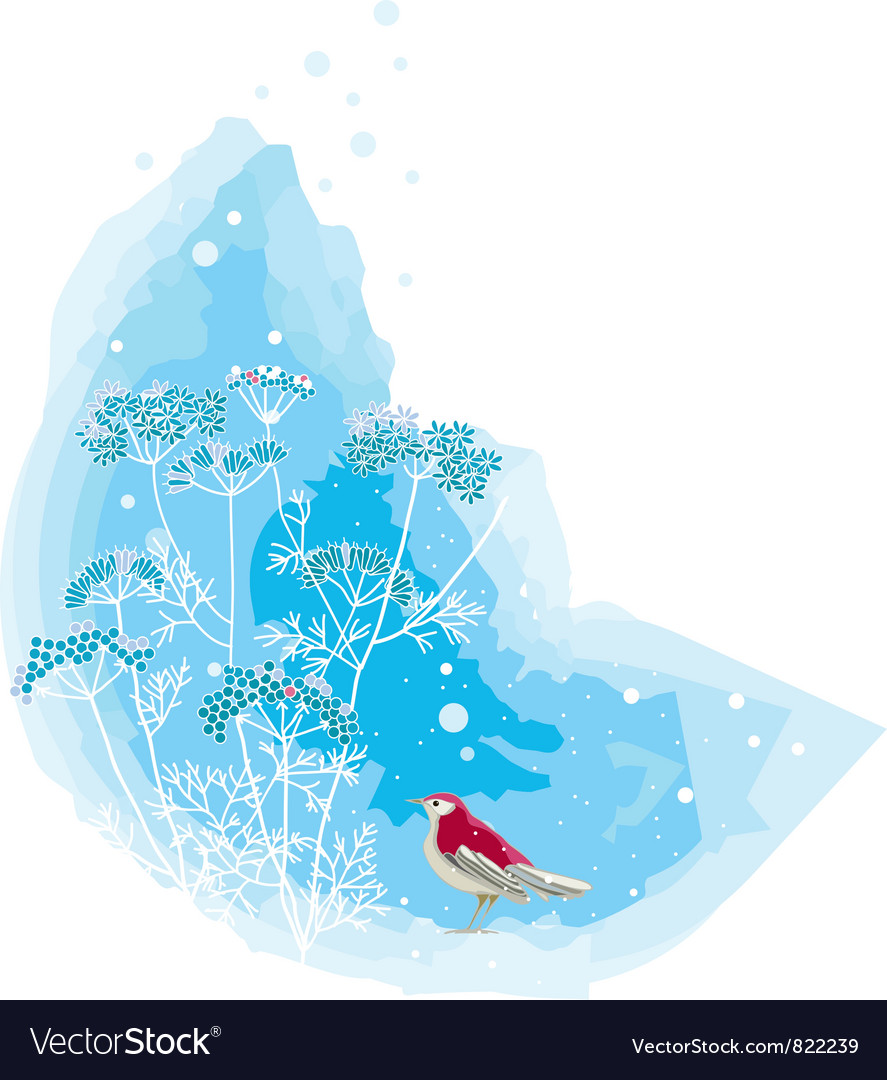 Winter scene with a red bird vector
