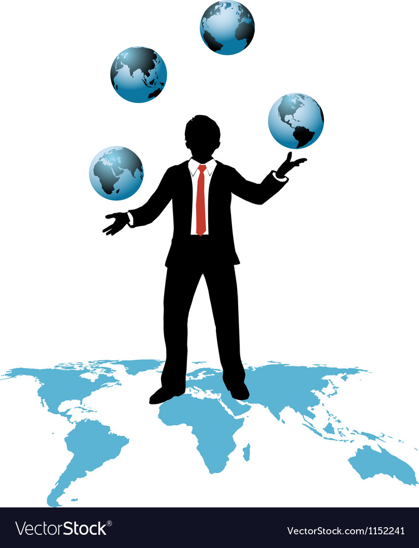 Global business man juggles business worlds vector
